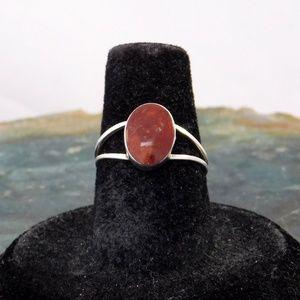Taxco Mexico Ring 950 Silver Red Jasper Retro i67